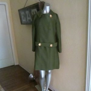 Vintage 60s Mod Olive Green Coat Size 10 12 so Hip